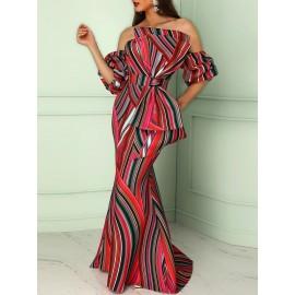 Color Block Slash Neck Bodycon Maxi Dress