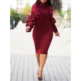 Fur Collar Lattern Sleeve Bodycon Dress