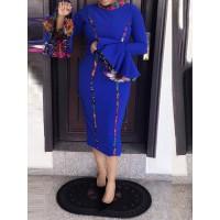 Women's Contrast Color Falbala Sleeve Bodycon Dress