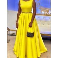 Off Shoulder Pure Color Round Collar Floor-Length Dress