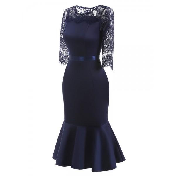 Hot Lace Patchwork Slim Fishtail Bodycon Dress
