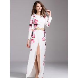 Round Neck High Slit Flower Print Dress