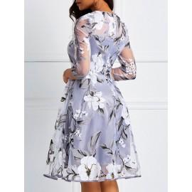 Romantic Three-Quarter Knee-Length Floral Dress