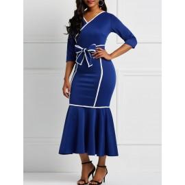 Long Sleeves Mermaid Falbala V-Neck Color Block Dresses