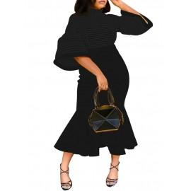 Flare Sleeve Irregual Hem Bodycon Dress