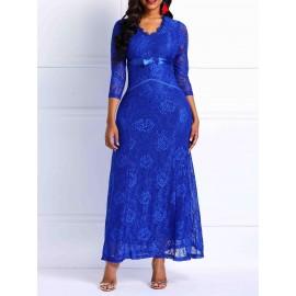 Three-Quarter Sleeve Pure Color Lace Dress