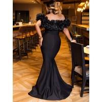 Off-The-Shoulder Patchwork Slash Neck Mermaid Dress