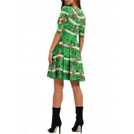 Christmas Printed Round Neck A Line Dress