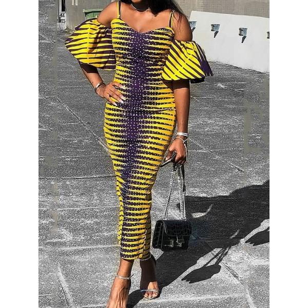 Chic Contrast Color Off Shoulder Women's  Maxi Dress