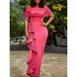Graceful Tassel Pleated Floor-Length Maxi Dresses