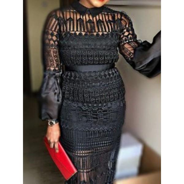 Black Round Neck Long Sleeve Lace Women's Dress