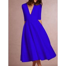 Half Sleeve V-Neck Mid-Calf High-Waist Plain Dresses