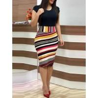 Color Block Stripe Patchwork Bodycon Dress