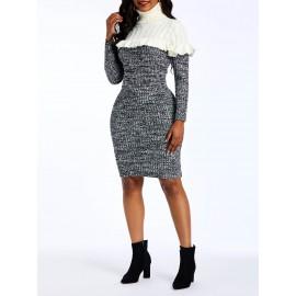 Women's High Collar Contrast Color Knee Length Bodycon Dress