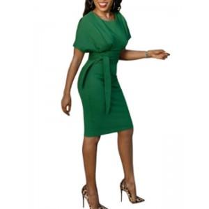Plain Short Sleeve Round Neck Lace Up Bodycon Dress