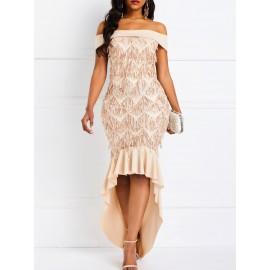 Short Sleeve Sequins Slash Neck High-Waist Elegant Dresses