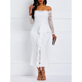 Slash Neck Off Shoulder Long Sleeve Lace Dress